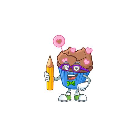 A picture of Student chocolate love cupcake character holding pencil. Vector illustration Illustration