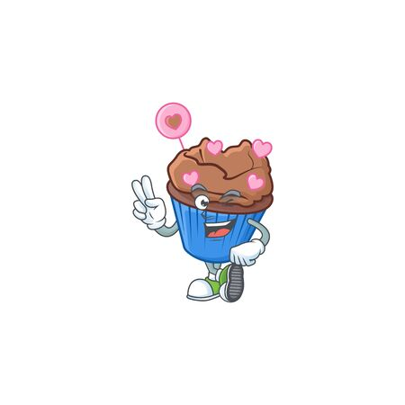 cartoon mascot design of chocolate love cupcake with two fingers. Vector illustration