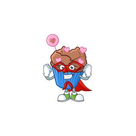 Smiley mascot of chocolate love cupcake dressed as a Super hero. Vector illustration Illustration