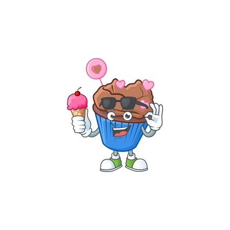 Chocolate love cupcake mascot cartoon design with ice cream. Vector illustration Illustration