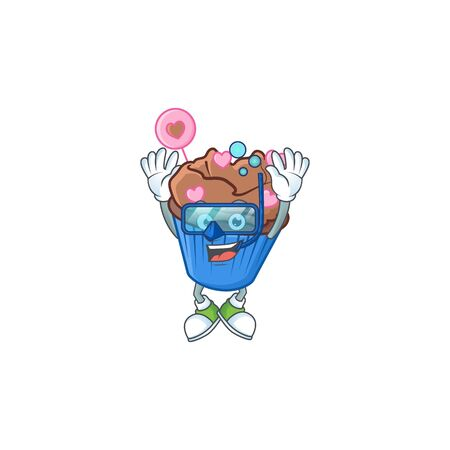 cartoon character of chocolate love cupcake wearing Diving glasses. Vector illustration