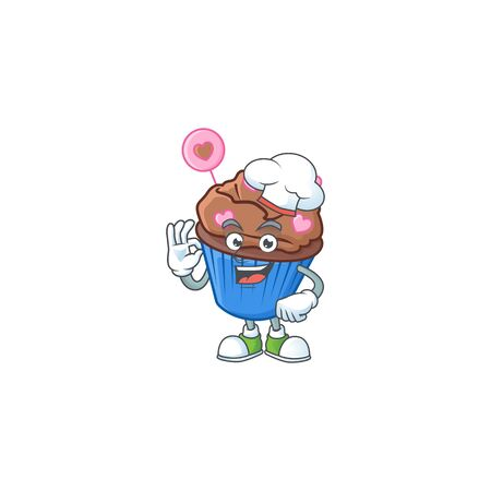 Chocolate love cupcake cartoon character wearing costume of chef and white hat. Vector illustration