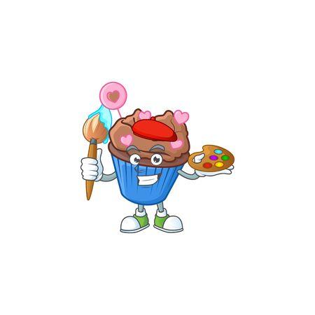 Smart chocolate love cupcake painter mascot icon with brush. Vector illustration