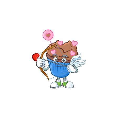 A romantic sweet chocolate love cupcake Cupid with arrow and wings. Vector illustration