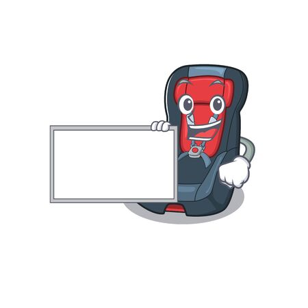 Funny baby car seat cartoon character design style with board. Vector illustration Illustration