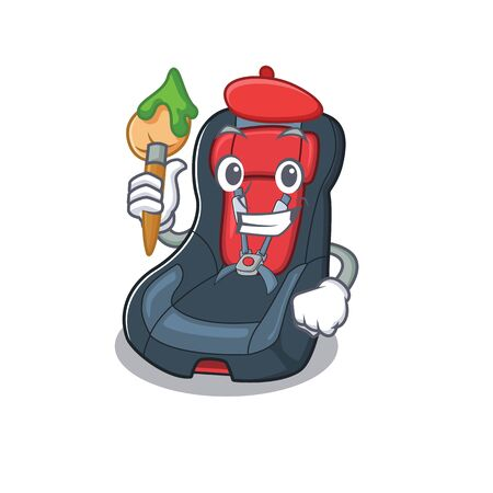 Cartoon character of baby car seat Artist with a brush Illusztráció
