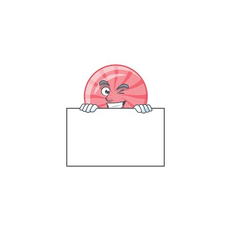 Grinning face pink round lollipop cartoon character style hides behind a board. Vector illustration 矢量图像