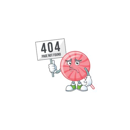 sad face mascot style of pink round lollipop raised up a board. Vector illustration 矢量图像