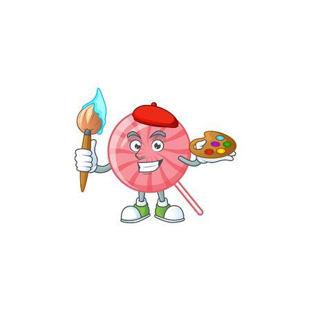 Smart pink round lollipop painter mascot icon with brush. Vector illustration Illusztráció
