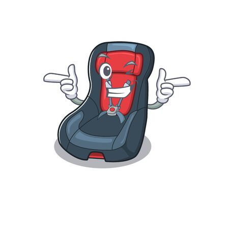 mascot cartoon design of baby car seat with Wink eye. Vector illustration