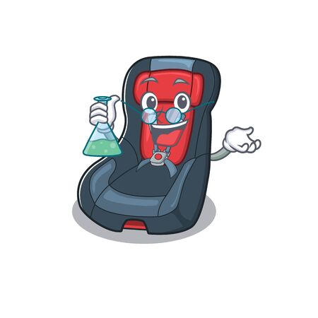 Smart Professor baby car seat cartoon character with glass tube. Vector illustration