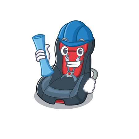 Elegant Architect baby car seat having blue prints and blue helmet Illustration