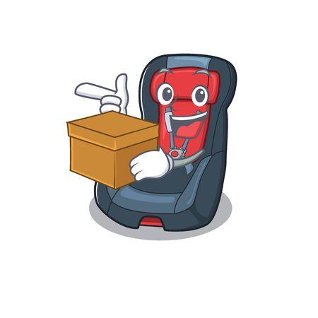 Cute baby car seat cartoon character having a box