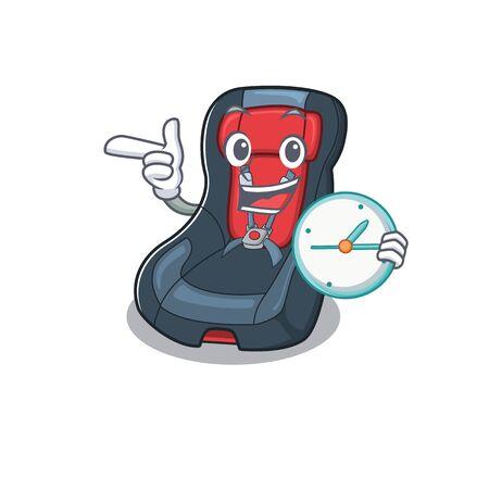 cartoon character style baby car seat having clock. Vector illustration