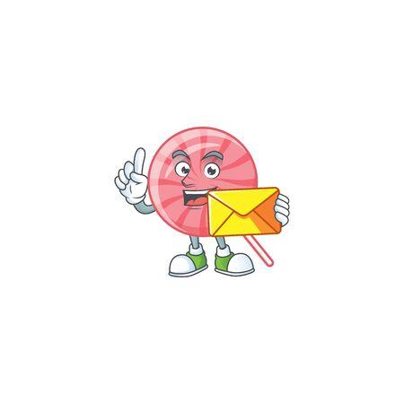 Cheerfully pink round lollipop mascot design with envelope. Vector illustration 일러스트