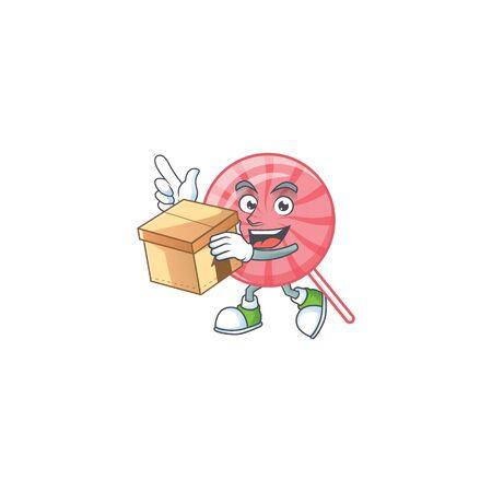Cute pink round lollipop cartoon character having a box. Vector illustration
