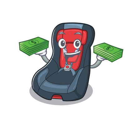 happy rich baby car seat character with money on hands