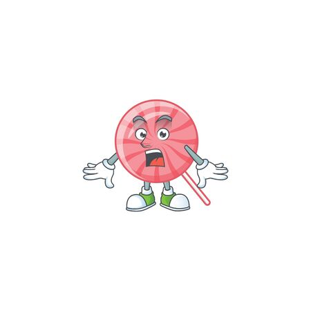 Pink round lollipop cartoon character design on a surprised gesture. Vector illustration Ilustração