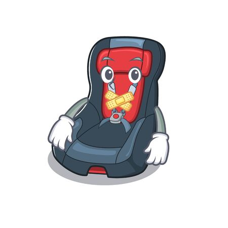 a silent gesture of baby car seat mascot cartoon character design