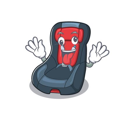 Baby car seat Cartoon character style with a crazy face. Vector illustration