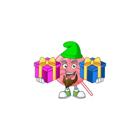 Estilo lindo de la mascota de la historieta de la piruleta redonda rosada con la lengua fuera. Ilustración vectorial Ilustración de vector