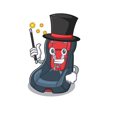 A picture of baby car seat performance as a Magician. Vector illustration
