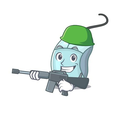 A cartoon design of computer mouse Army with machine gun