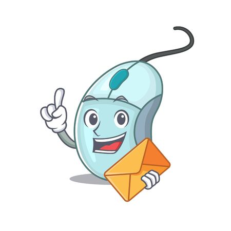 Cheerfully computer mouse mascot design with envelope 일러스트