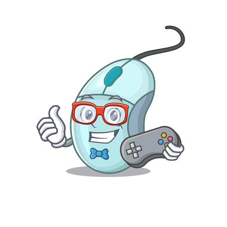 Smiley gamer computer mouse cartoon mascot style