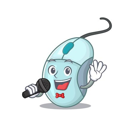 Happy computer mouse singing on a microphone