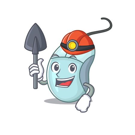 Cool clever Miner computer mouse cartoon character design Ilustrace