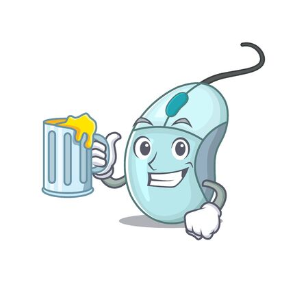 Happy computer mouse mascot design with a big glass