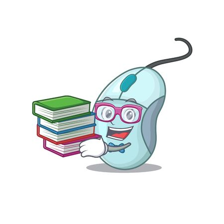 Cool and clever Student computer mouse mascot cartoon with book Ilustrace
