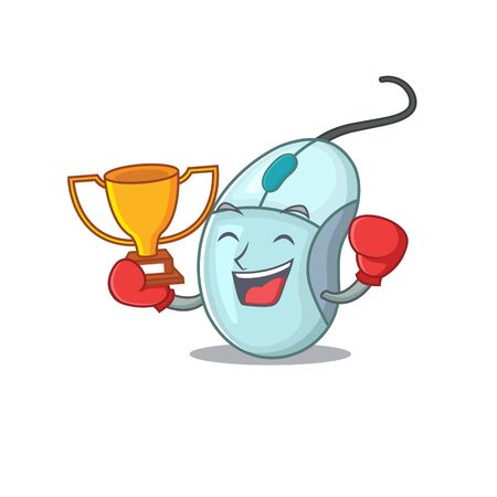 fantastic Boxing winner of computer mouse in mascot cartoon style Ilustrace