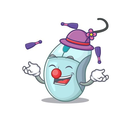 Smart computer mouse cartoon character design playing Juggling