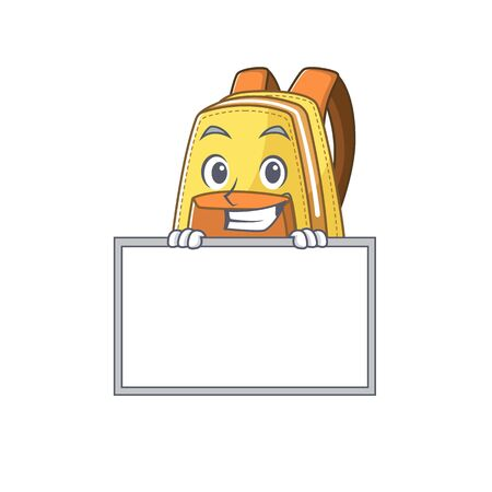 A cute picture of kids school backpack grinning with board. Vector illustration