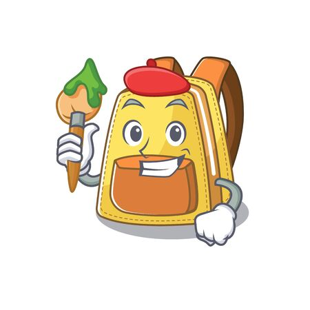 Cartoon character of kids school backpack Artist with a brush