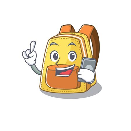 Cartoon design of kids school backpack speaking on a phone. Vector illustration