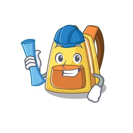Elegant Architect kids school backpack having blue prints and blue helmet