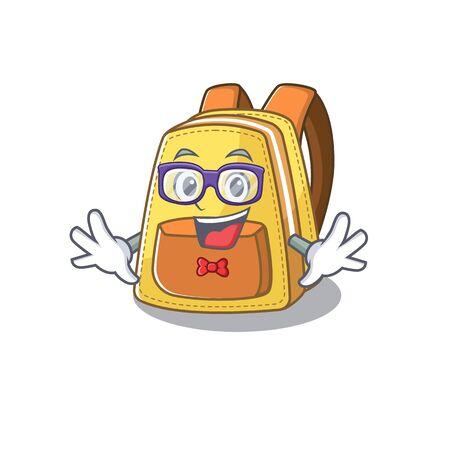 cartoon character of Geek kids school backpack design