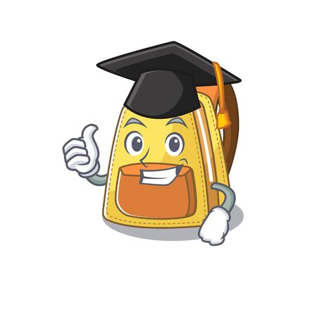 happy and proud of kids school backpack wearing a black Graduation hat