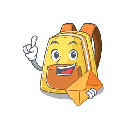 Cheerfully kids school backpack mascot design with envelope