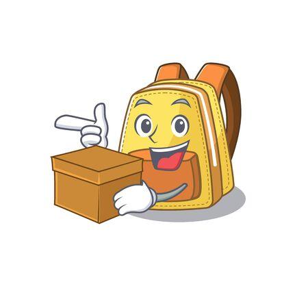 Cute kids school backpack cartoon character having a box