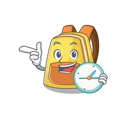 cartoon character style kids school backpack having clock. Vector illustration