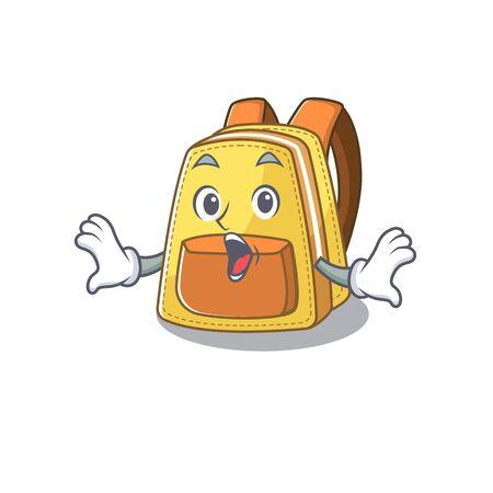 Kids school backpack cartoon character design on a surprised gesture. Vector illustration Ilustração