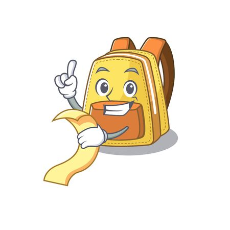 A funny cartoon character of kids school backpack with a menu Ilustracja