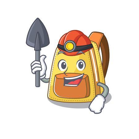 Conception de personnage de dessin animé de sac à dos scolaire pour enfants Miner intelligent cool. Illustration vectorielle