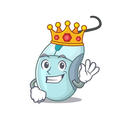 A stunning of computer mouse stylized of King on cartoon mascot style Ilustrace