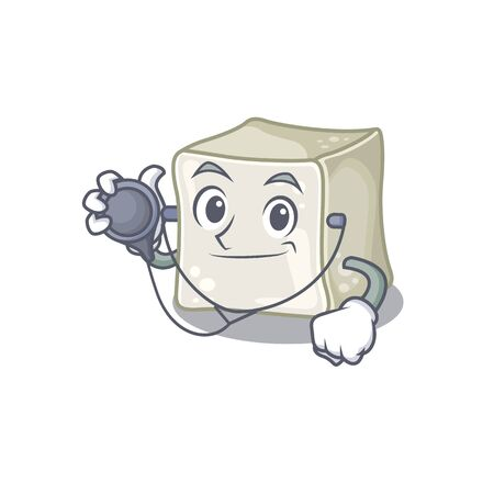 Smart and cool sugar cube cartoon character in a Doctor with tools. Vector illustration