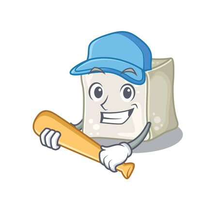 Sporty sugar cube cartoon character design with baseball Illusztráció